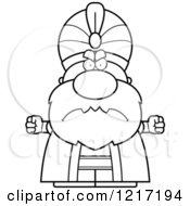 Clipart Of A Black And White Mad Sultan Royalty Free Vector Illustration
