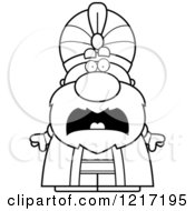 Clipart Of A Black And White Scared Sultan Royalty Free Vector Illustration by Cory Thoman