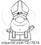 Clipart Of A Black And White Waving Pope Royalty Free Vector Illustration by Cory Thoman