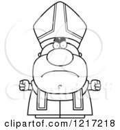 Clipart Of A Black And White Mad Pope Royalty Free Vector Illustration by Cory Thoman