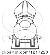 Clipart Of A Black And White Bored Pope Royalty Free Vector Illustration by Cory Thoman