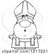 Clipart Of A Black And White Surprised Pope Royalty Free Vector Illustration by Cory Thoman