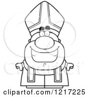 Clipart Of A Black And White Happy Grinning Pope Royalty Free Vector Illustration by Cory Thoman