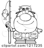 Clipart Of A Black And White Happy Fisherman Royalty Free Vector Illustration by Cory Thoman