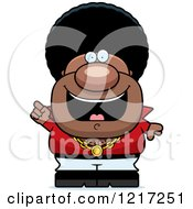 Clipart Of A Black Disco Man With An Idea Royalty Free Vector Illustration by Cory Thoman