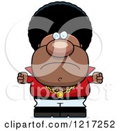 Clipart Of A Mad Black Disco Man Holding Up Balled Fists Royalty Free Vector Illustration by Cory Thoman