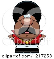 Clipart Of A Scared Black Disco Man Royalty Free Vector Illustration by Cory Thoman