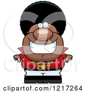 Clipart Of A Grinning Black Disco Man Royalty Free Vector Illustration by Cory Thoman