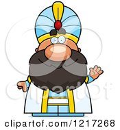 Clipart Of A Friendly Waving Sultan Royalty Free Vector Illustration by Cory Thoman