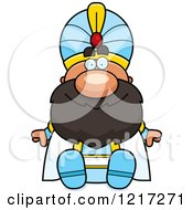 Clipart Of A Happy Sitting Sultan Royalty Free Vector Illustration by Cory Thoman