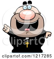 Clipart Of A Happy Priest With An Idea Royalty Free Vector Illustration by Cory Thoman