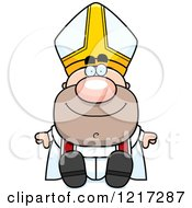 Clipart Of A Happy Sitting Pope Royalty Free Vector Illustration by Cory Thoman