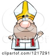 Clipart Of A Waving Pope Royalty Free Vector Illustration by Cory Thoman