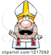 Clipart Of A Happy Pope With An Idea Royalty Free Vector Illustration by Cory Thoman