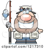 Clipart Of A Happy Grinning Fisherman Royalty Free Vector Illustration