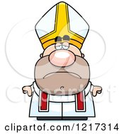 Cartoon Of A Depressed Pope Royalty Free Vector Clipart