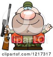 Clipart Of A Friendly Waving Hunter Man Royalty Free Vector Illustration by Cory Thoman