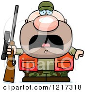 Clipart Of A Scared Hunter Man Royalty Free Vector Illustration by Cory Thoman
