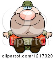 Clipart Of A Happy Sitting Hunter Man Royalty Free Vector Illustration by Cory Thoman