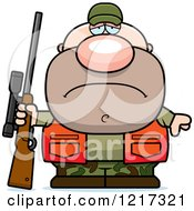 Clipart Of A Depressed Hunter Man Royalty Free Vector Illustration