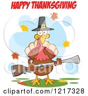 Clipart Of Happy Thanksgiving Text Over A Pilgrim Turkey Bird Holding A Musket Royalty Free Vector Illustration