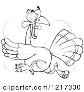 Clipart Of An Outlined Scared Thanksgiving Turkey Bird Running Royalty Free Vector Illustration