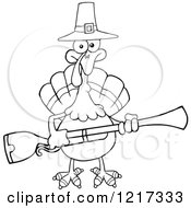 Clipart Of An Outlined Thanksgiving Pilgrim Turkey Bird Holding A Musket Royalty Free Vector Illustration