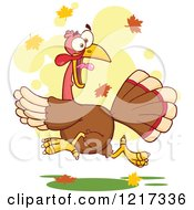 Clipart Of A Scared Thanksgiving Turkey Bird Running Over Autumn Leaves Royalty Free Vector Illustration