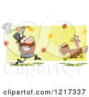 Clipart Of A Hungry Pilgrim Chasing A Thanksgiving Turkey Bird With An Axe Over Leaves Royalty Free Vector Illustration