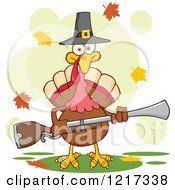 Clipart Of A Thanksgiving Pilgrim Turkey Bird Holding A Musket With Fall Leaves Royalty Free Vector Illustration