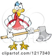 Clipart Of A White Thanksgiving Turkey Bird Holding An Axe Royalty Free Vector Illustration by Hit Toon