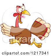 Clipart Of A Scared Thanksgiving Turkey Bird Running Royalty Free Vector Illustration by Hit Toon