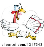 Clipart Of A Scared White Thanksgiving Turkey Bird Running Royalty Free Vector Illustration