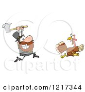 Clipart Of A Hungry Pilgrim Chasing A Thanksgiving Turkey Bird With An Axe Royalty Free Vector Illustration