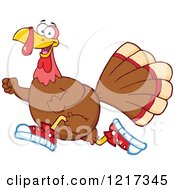 Clipart Of A Thanksgiving Turkey Bird Running In Sneakers Royalty Free Vector Illustration by Hit Toon