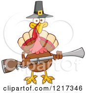 Clipart Of A Thanksgiving Pilgrim Turkey Bird Holding A Musket Royalty Free Vector Illustration