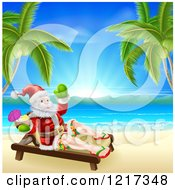 Clipart Of A Relaxed Santa Holding A Cocktail And Sun Bathing On A Tropical Beach Royalty Free Vector Illustration