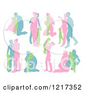 Clipart Of Pink Green And Blue Silhouetted Families Royalty Free Vector Illustration