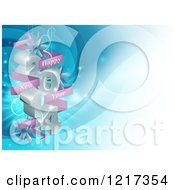 Clipart Of A 3d Happy New Year 2014 Hanging Ornaments On Blue Royalty Free Vector Illustration