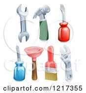 Clipart Of A Hammer Wrenches Screwdrivers Plunger And Paintbrush Royalty Free Vector Illustration
