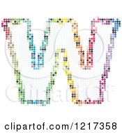 Clipart Of A Colorful Pixelated Capital Letter W Royalty Free Vector Illustration