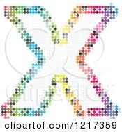 Clipart Of A Colorful Pixelated Capital Letter X Royalty Free Vector Illustration