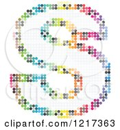 Clipart Of A Colorful Pixelated Capital Letter S Royalty Free Vector Illustration
