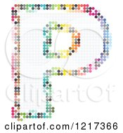 Clipart Of A Colorful Pixelated Capital Letter P Royalty Free Vector Illustration