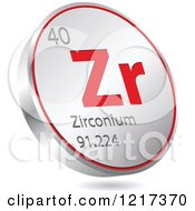 Clipart Of A 3d Floating Round Red And Silver Zirconium Chemical Element Icon Royalty Free Vector Illustration