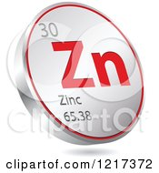 Clipart Of A 3d Floating Round Red And Silver Zinc Chemical Element Icon Royalty Free Vector Illustration