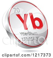 Clipart Of A 3d Floating Round Red And Silver Ytterbium Chemical Element Icon Royalty Free Vector Illustration