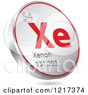 Clipart Of A 3d Floating Round Red And Silver Xenon Chemical Element Icon Royalty Free Vector Illustration