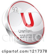Clipart Of A 3d Floating Round Red And Silver Uranium Chemical Element Icon Royalty Free Vector Illustration