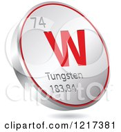Clipart Of A 3d Floating Round Red And Silver Tungsten Chemical Element Icon Royalty Free Vector Illustration